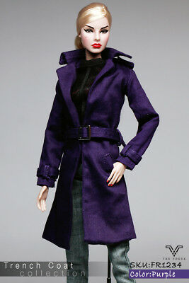 FR1234 Purple Fashion Mid Trench Coat for  Fashion Royalty FR2  (Coat Only)