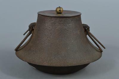 M8654: Japanese Iron Shapely TEAKETTLE Teapot Chagama w/copper lid Tea Ceremony