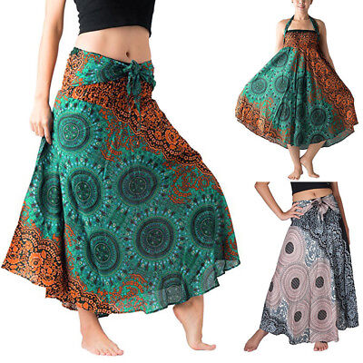 Women Casual Long Hippie Bohemian Gypsy Boho Flowers Elastic Floral Hlater Skirt