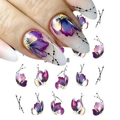 3sheets Water Transfer Nail Art Sticker Flowers Butterfly Design Nails Wraps Tip