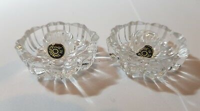 2 X Vintage Crystal Candle Holders Made in Sweden 5cm  @@FREE POSTAGE@@
