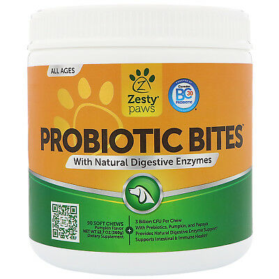 Zesty Paws  Probiotic Bites for Dogs  with Natural Digestive Enzymes  Pumpkin