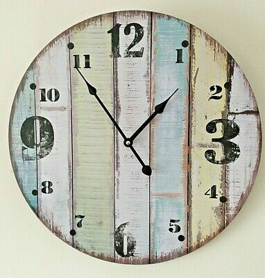 Extra Large Shabby Chic Wall Clock French Vintage Rustic Striped Face 45 cm