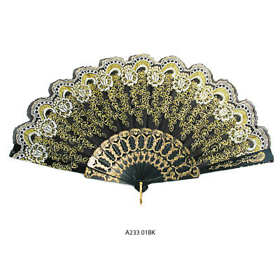 Black & White w/ Gold Glitter Folding Hand Fan Parties Dancing Costumes - A233
