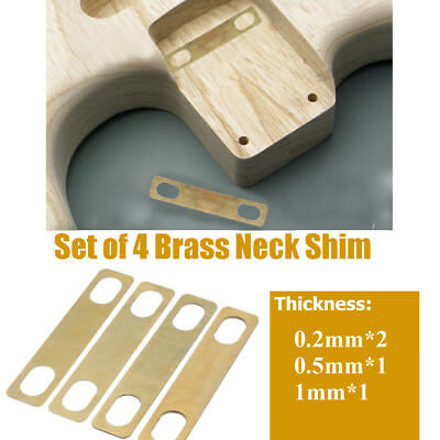 Set of 4 Brass Neck Shims for Guitar Bass Thickness 0.2mm 0.5mm 1mm
