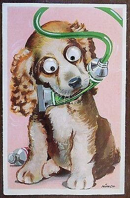 Novelty Postcard, Cute Dog with Moving Eyes, Posted 1964, Artist Signed Munch