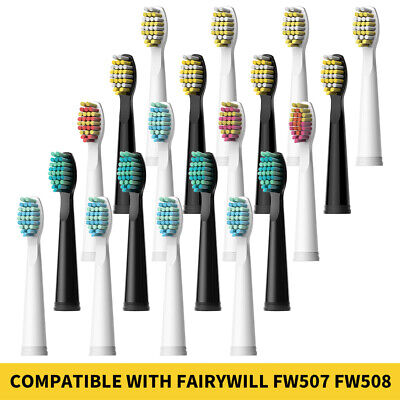 Fairywill Electric Toothbrush Replacement Heads x 4 Soft & Hard Brush Heads