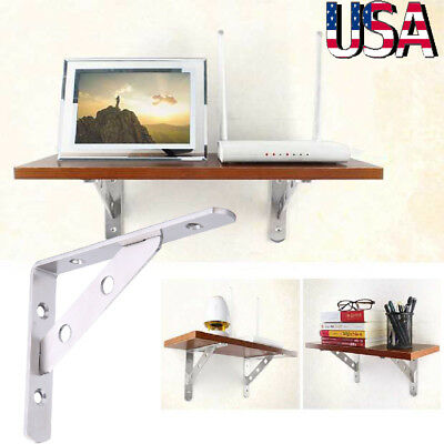 "2 Pcs Heavy Duty 6""8""10""12"" inch Metal Shelf Brackets Book Contertop Support US"