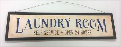 Laundry Room Drop your pants here open 24hrs Self service wooden wall sign 9x11