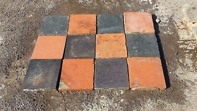 "1 x Reclaimed Victorian Black Quarry Tiles 6"" x 6"" 