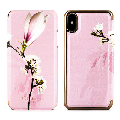 Ted Baker® LAYYLI Luxury Branded Womens Mirror Folio Case for iPhone X / XS Pink