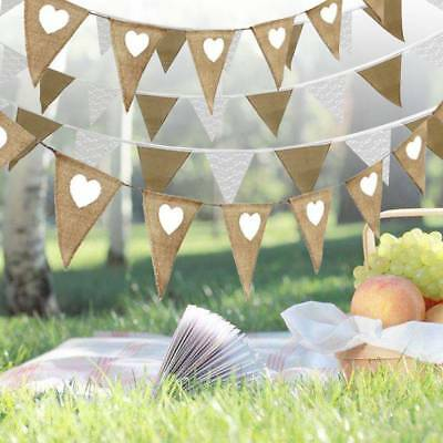 Hessian and Lace Bunting Vintage Flags Wedding Love Heart Party Birthday Garland
