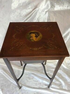 Antique French Inlaid Table Satin Walnut Hand Painted Marion Antoinette