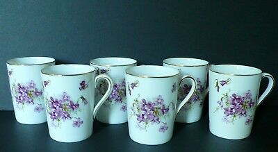 "Set of 6 Hammersley ""Victorian Violets"" Bone China Mugs / Cups"
