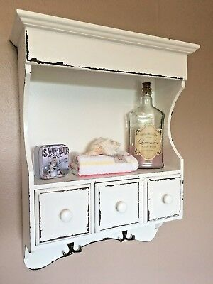 French Vintage Wooden Wall Unit Cabinet Cupboard Distressed Storage Shelf Drawer