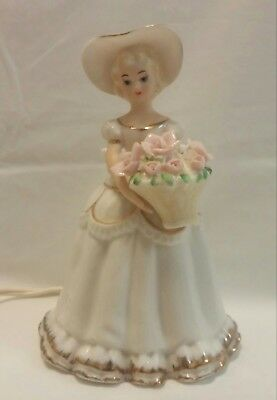 Vintage I.W. Rice & Co. Ceramic Girl Woman w/ Flowers Portable Night Light Lamp