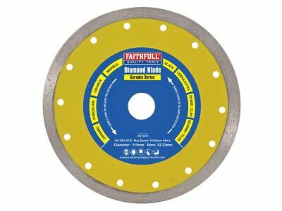 Faithfull Continuous Diamond Tile Saw Blade Disc 180mm x 25mm 22mm 16mm Bore