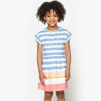LA REDOUTE GIRLS STRIPED DRESS AGE 10 YEARS NEW (ref 761)
