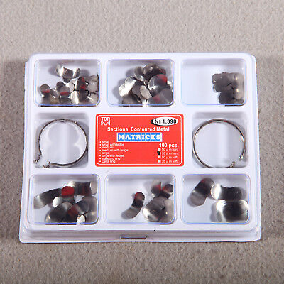 100Pcs Dental Matrix Sectional Contoured Metal Matrices Full Kit & 2 Ring Delta