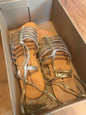2aee69a82574 LUCKY BRAND COLETTE Gold Metallic Gladiator Ankle Sandal 8 New ...