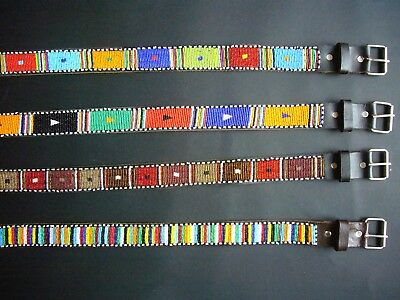 African Ethnic Leather Masai Bright Bead Ladies Mens Unisex Belt M Approx 32-36""