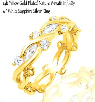 Yellow Gold Brilliant Marquise Infinity Celtic Crossover CZ Eternity Silver Ring