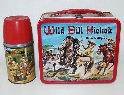 Vintage WILD BILL HICKOK AND JINGLES 1955 Metal LUNCHBOX & THERMOS Aladdin NICE