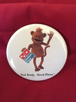 Bad Andy Official Advertising Button Pin BadAndy Dominos Pizza Monkey NEW WOW