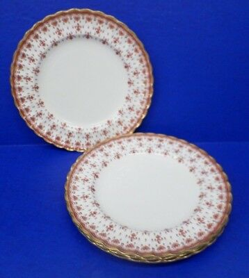 "4 - Spode Red Fleur De Lys Bone China Gold Trim  England 9.25"" LUNCHEON PLATES"