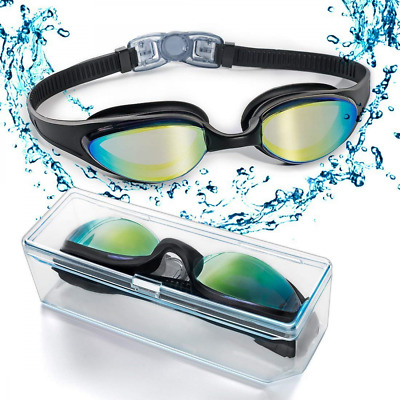 Swim Goggles Soft Nose Bridge &Coloured Mirror No Leaking Anti Fog Uv Protection