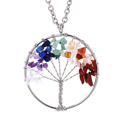 Tree of life pendant Amethyst Rose Crystal Necklace Gemstone Chakra Jewelry HOT
