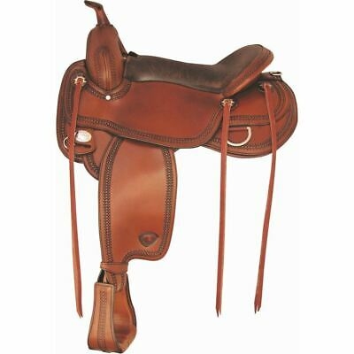 Tex Tan Montgomery Flex Western Trail Saddle with Border Tooling Chocolate, 17In