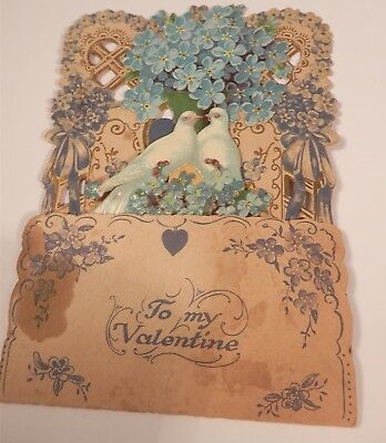 Antique Germany Pop Up Fold Down Die-Cut Valentines Card 2 Doves Forget Me Nots