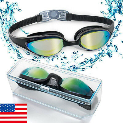 Swimming Goggles Anti Fog UV Protection Adult Clear Swim Glasses Adjustable Mask