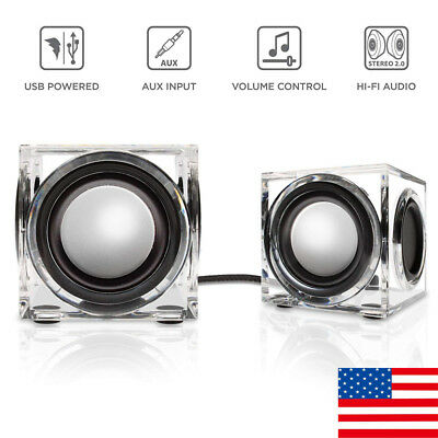 Clear Cube USB Powered Wired PC Speaker Ice Block Design AUX 3.5mm Dual Woofers