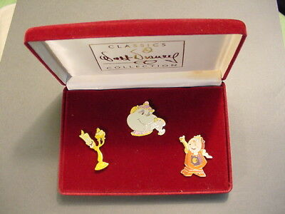 WDCC Walt Disney Classic Collection Beauty And The Beast 3 Pin Set~Potts, Chip