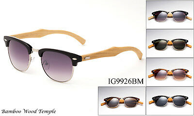 Handmade Bamboo Wood Clubmaster Sunglasses Classic Vintage Design UV Protection