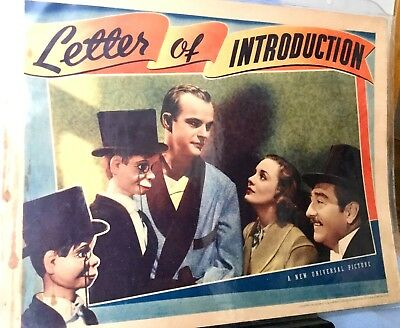 """LETTER OF INTRODUCTION * 1938 CHARLIE McCARTHY, ANDREA LEEDS 11"""" BY 14"""" ORIGINAL"""