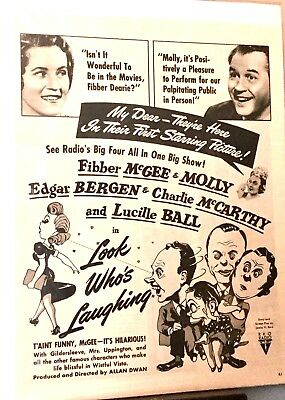 LOOK WHO'S LAUGHING RADIO AD * FIBBER McGEE & MOLLY, LUCILLE BALL * RKO RADIO