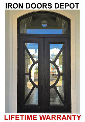 Iron Doors Depot TR223 -  Double Front Entry Wrought Iron Door w/Operable Glass