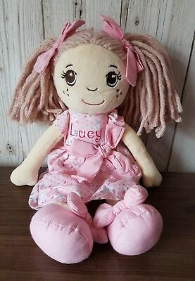 """Personalised Ragdoll soft cuddly toy ANY NAME Unique Gift 1st Birthday 12"""" pink"""