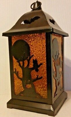 Glisten Flickering LED Halloween Lantern Orange Glow Metal Frame Decor 9.5 in.