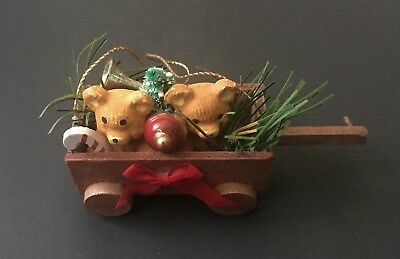 Teddy Bears In Wooden Wagon Ornament Pine Tree Candy Cane Holiday Christmas