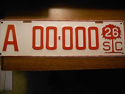 1926 South Carolina License plate SAMPLE- LAST ONE-metal plate not aluminum