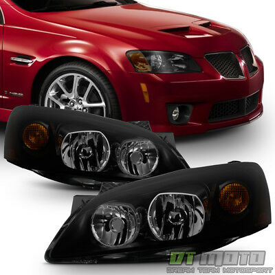 Black Smoke 2005 2010 Pontiac G6 Gt Headlights Headlamps Aftermarket Left Right