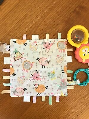 Baby - Pink sheep taggie taggy tag blanket - handmade new