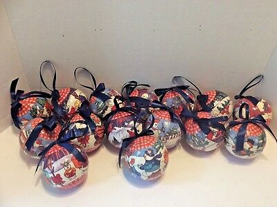 Lot of 15 Vintage Christmas Tree Ornaments Paper Mache Bulbs Holiday Decor