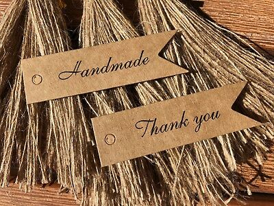 Kraft Brown Handmade/Thank You Gift Flag Tags with Jute String