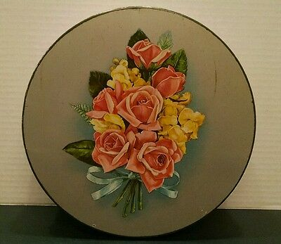 Vintage Cookie Tin Silver Floral Rose Bouquet