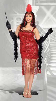 1X/2X Womens Plus Size Ain't She Sweet Flapper Costume, Plus Size Flapper
